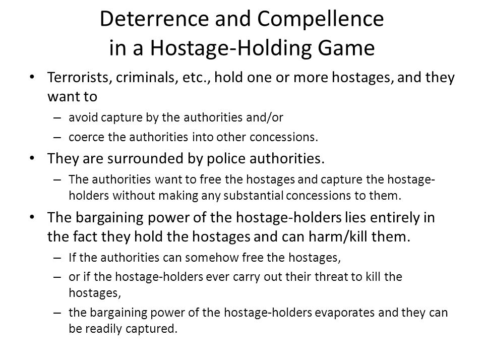 Deterrence and Compellence in a Hostage-Holding Game