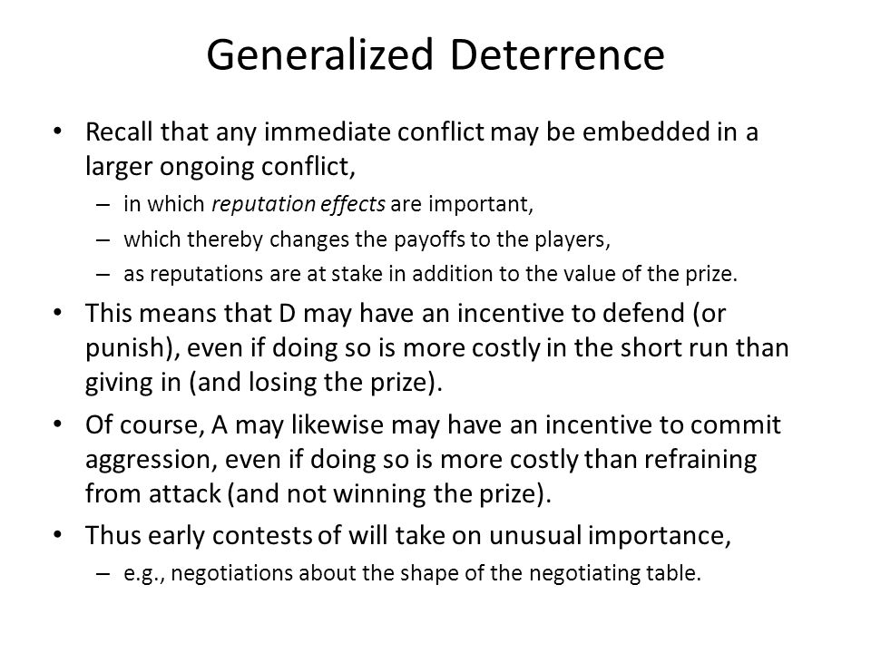 Generalized Deterrence