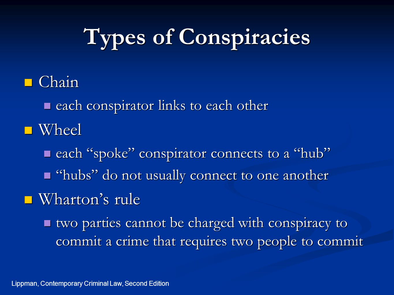 Types of Conspiracies Chain Wheel Wharton's rule