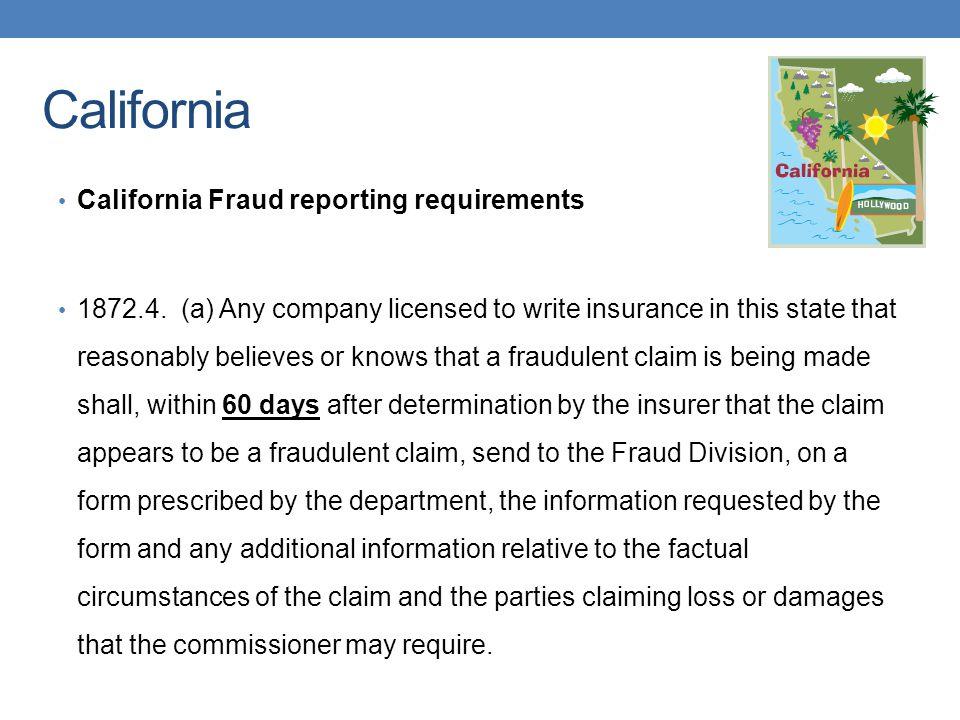 California California Fraud reporting requirements