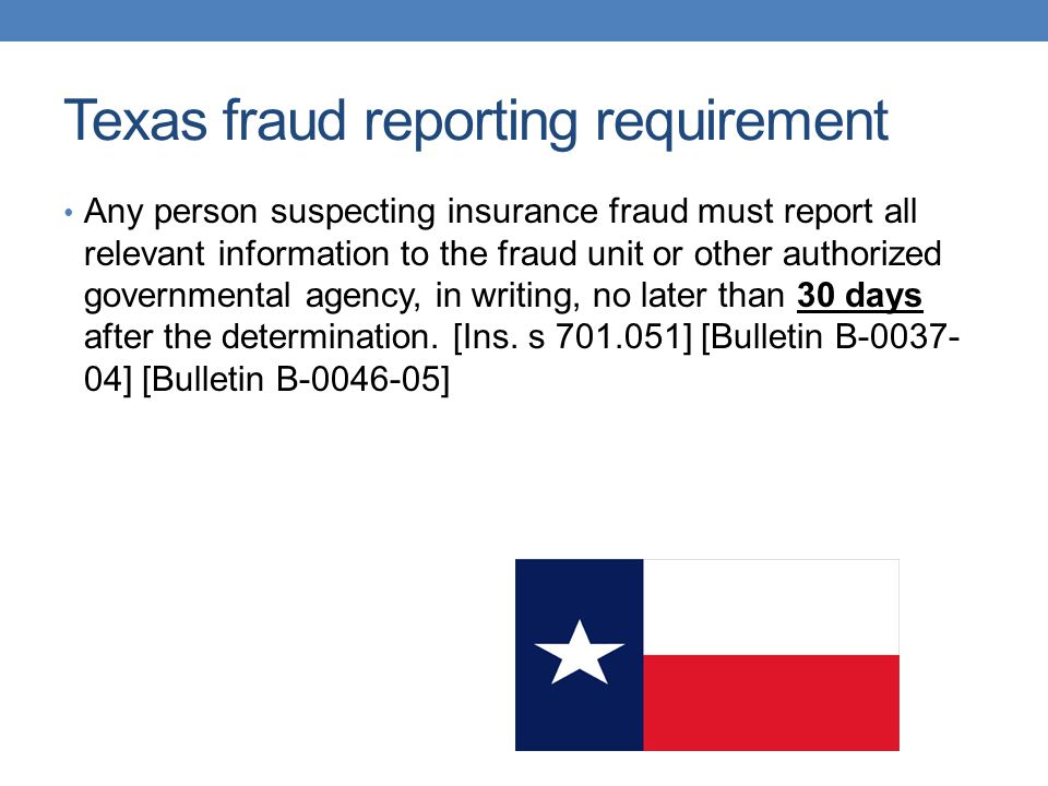 Texas fraud reporting requirement