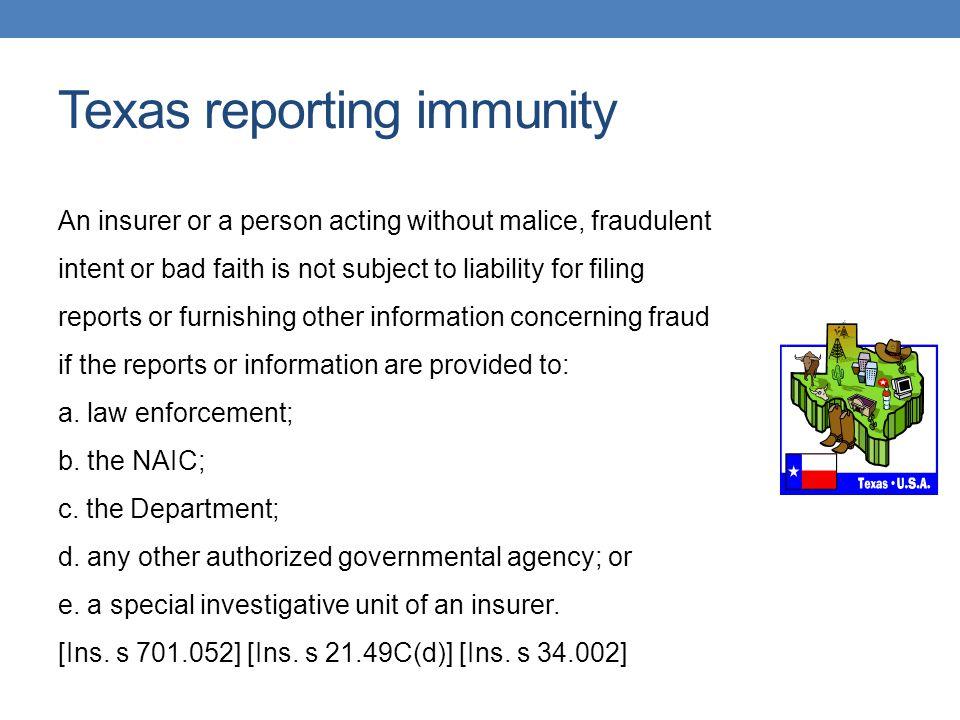Texas reporting immunity