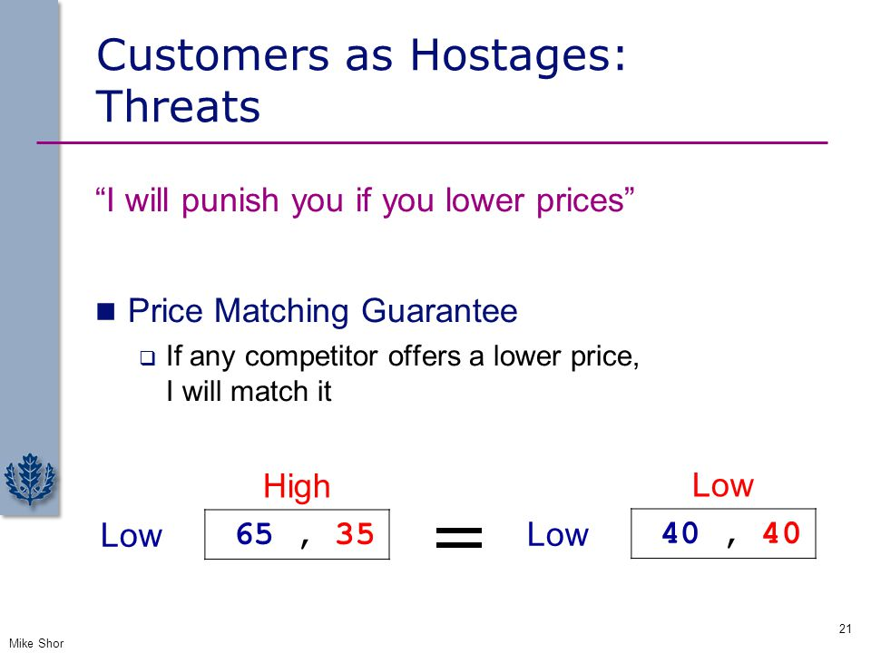 Customers as Hostages: Threats