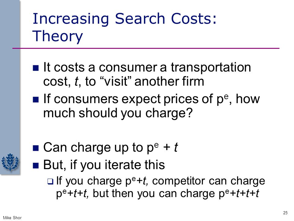 Increasing Search Costs: Theory