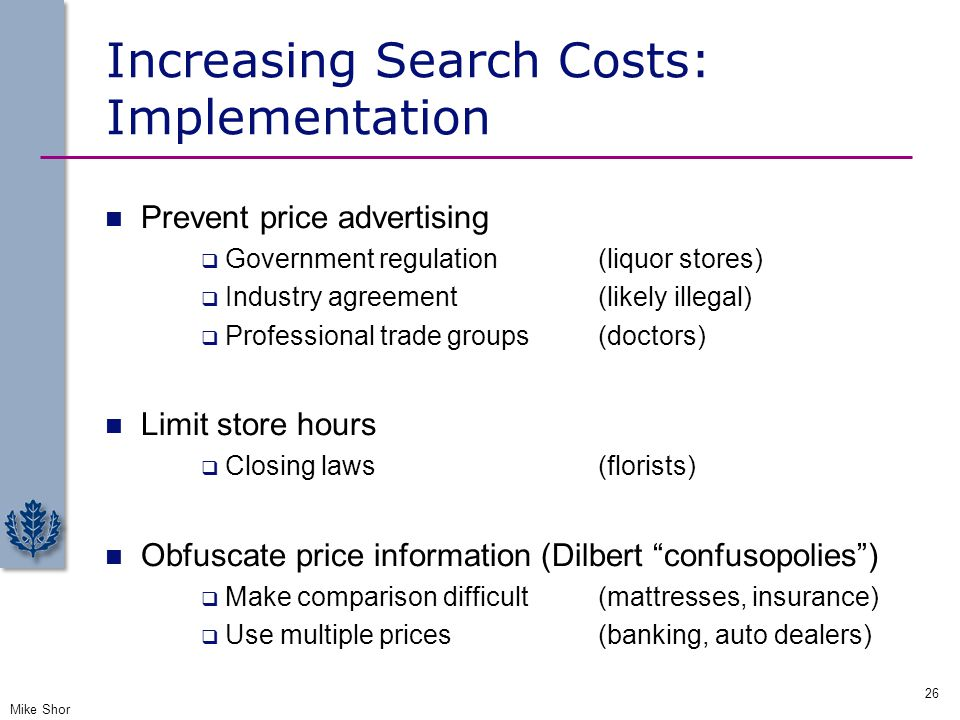 Increasing Search Costs: Implementation