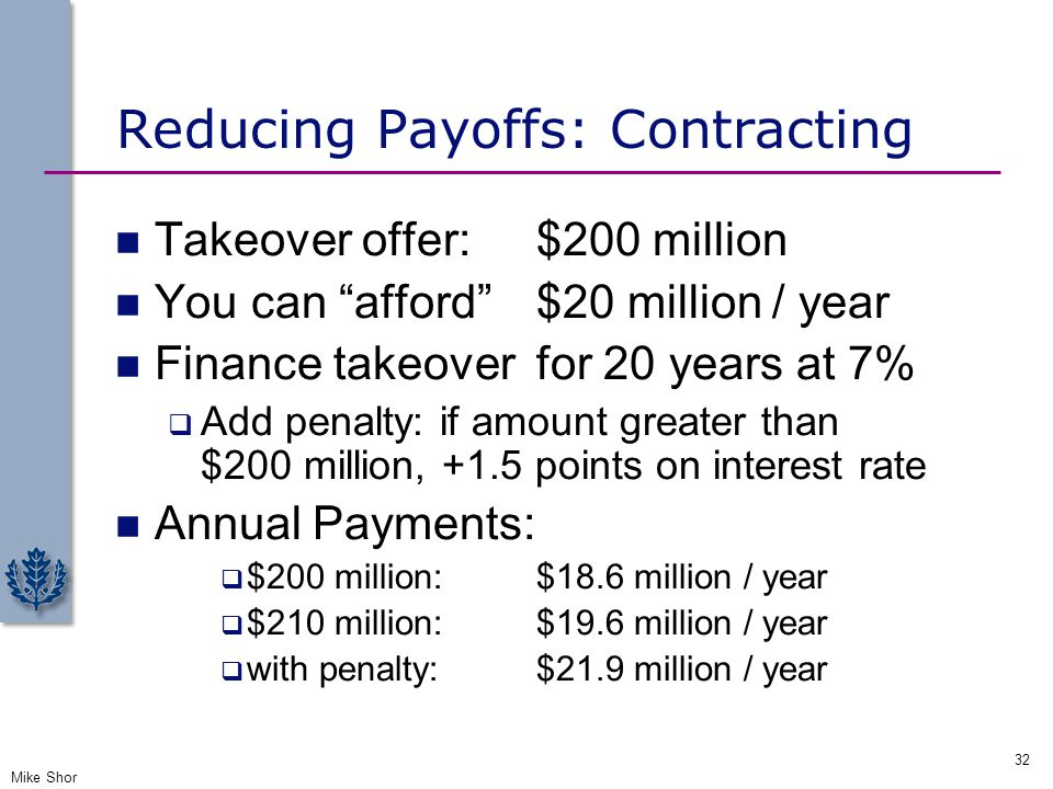 Reducing Payoffs: Contracting