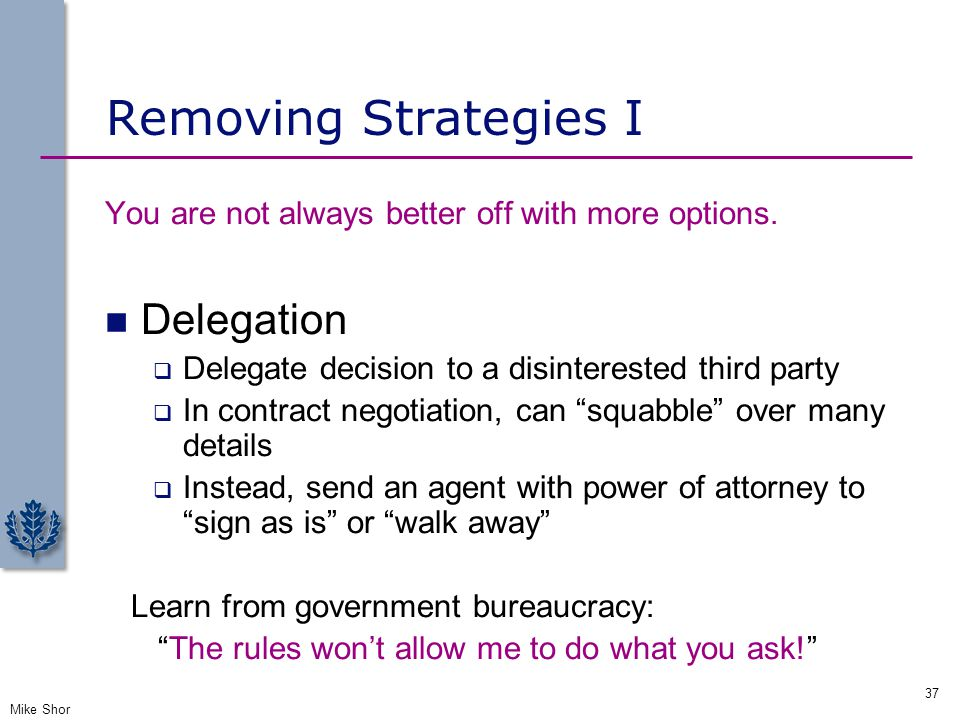 Removing Strategies I Delegation