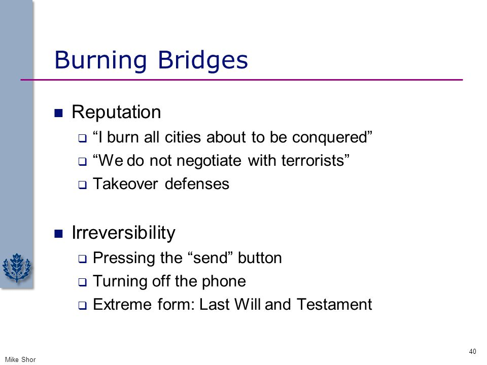 Burning Bridges Reputation Irreversibility
