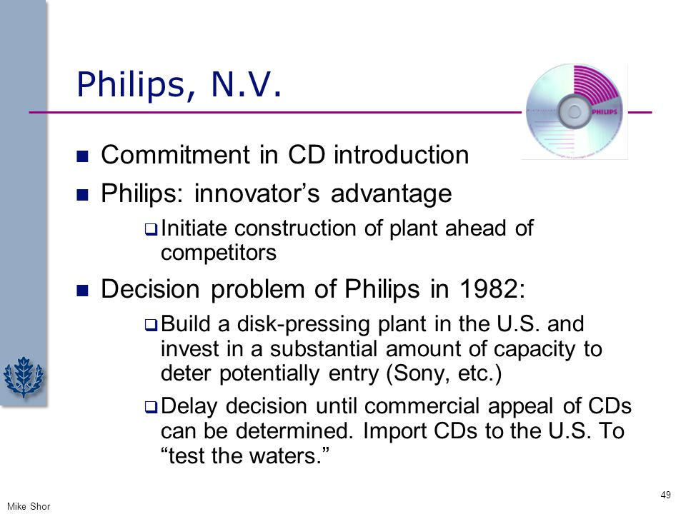 Philips, N.V. Commitment in CD introduction