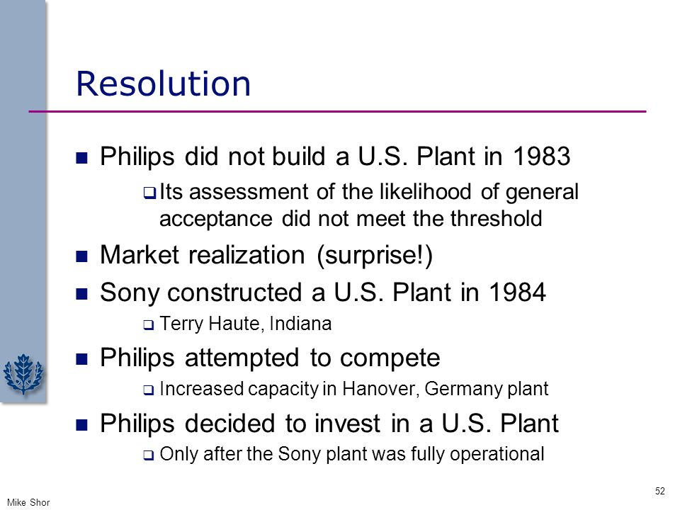 Resolution Philips did not build a U.S. Plant in 1983