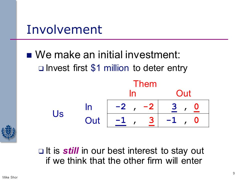 Involvement We make an initial investment: