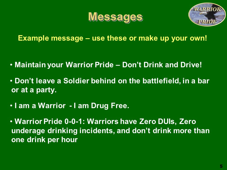 Example message – use these or make up your own!