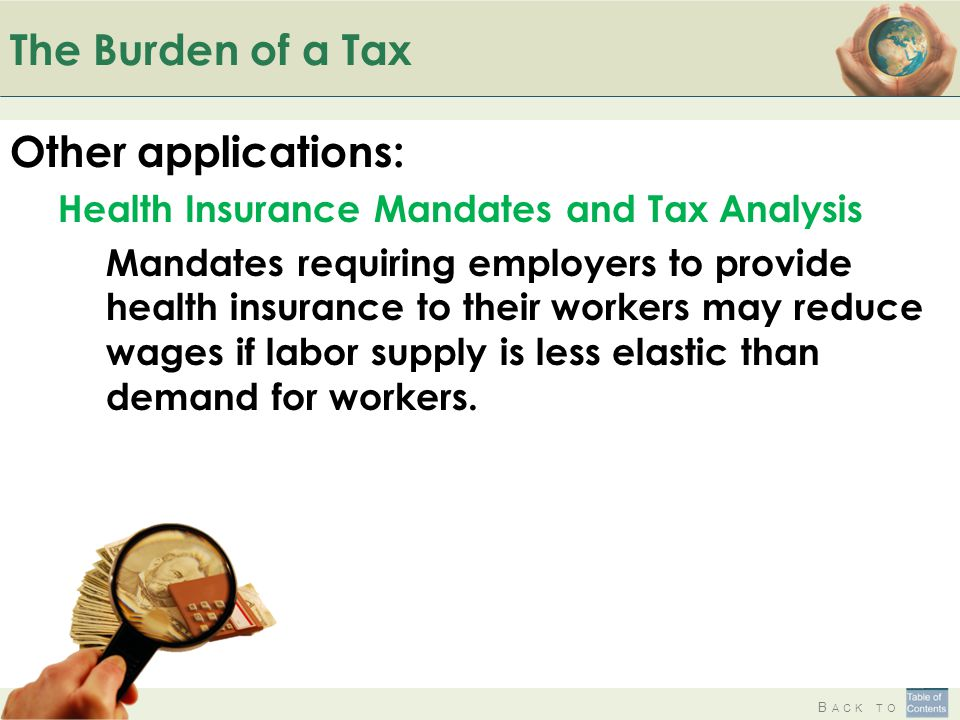 The Burden of a Tax Other applications: