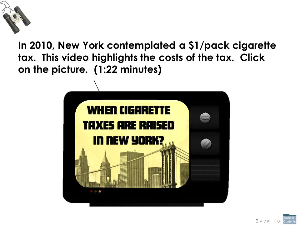 In 2010, New York contemplated a $1/pack cigarette tax