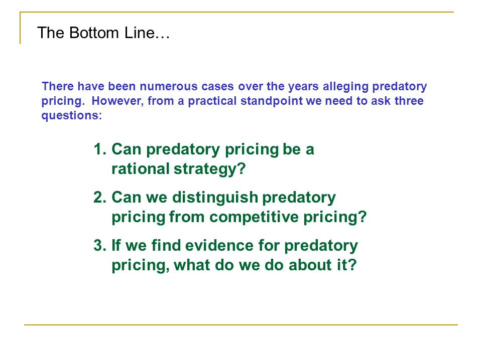 Can predatory pricing be a rational strategy