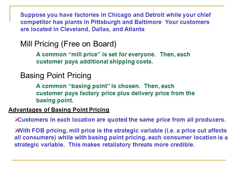 Mill Pricing (Free on Board)