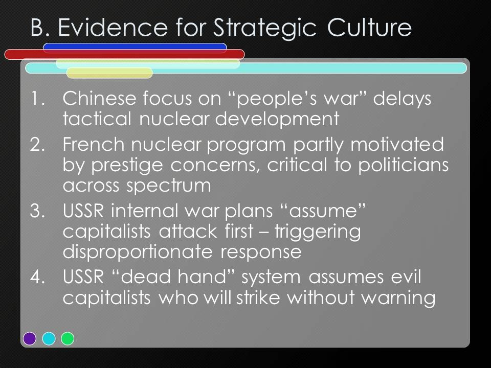 B. Evidence for Strategic Culture