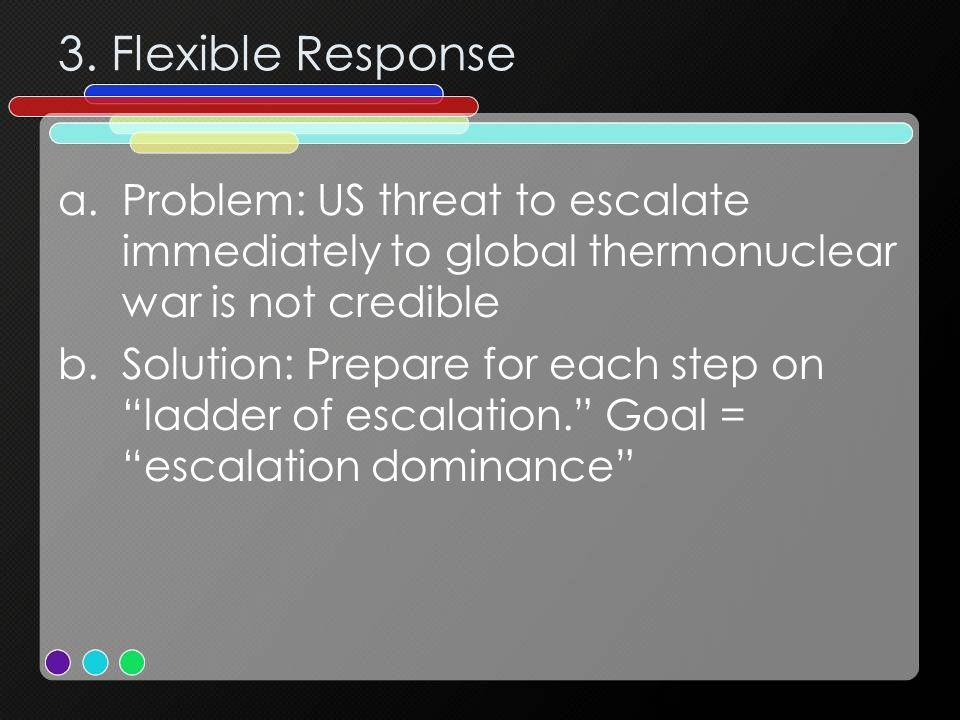 3. Flexible Response Problem: US threat to escalate immediately to global thermonuclear war is not credible.