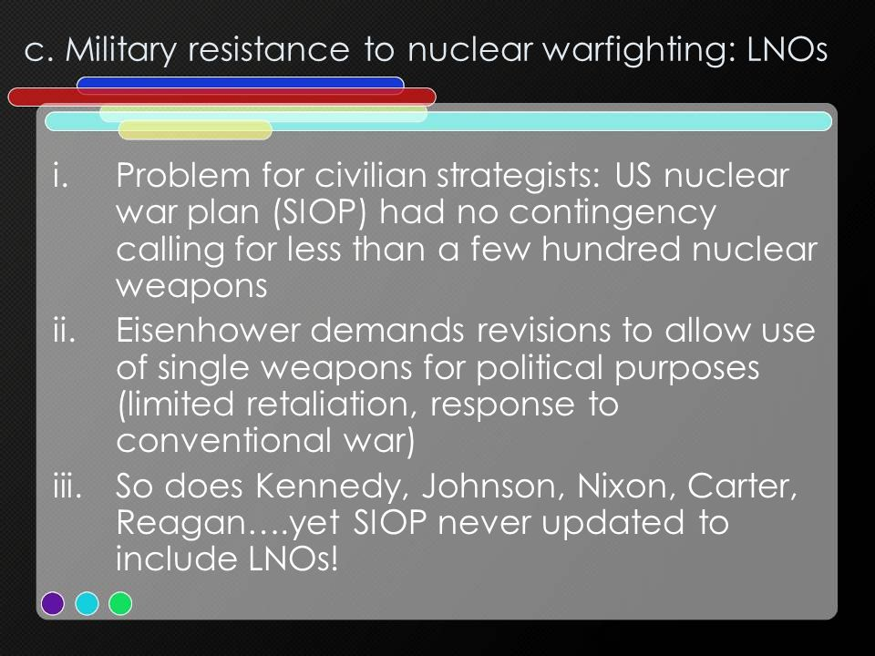 c. Military resistance to nuclear warfighting: LNOs