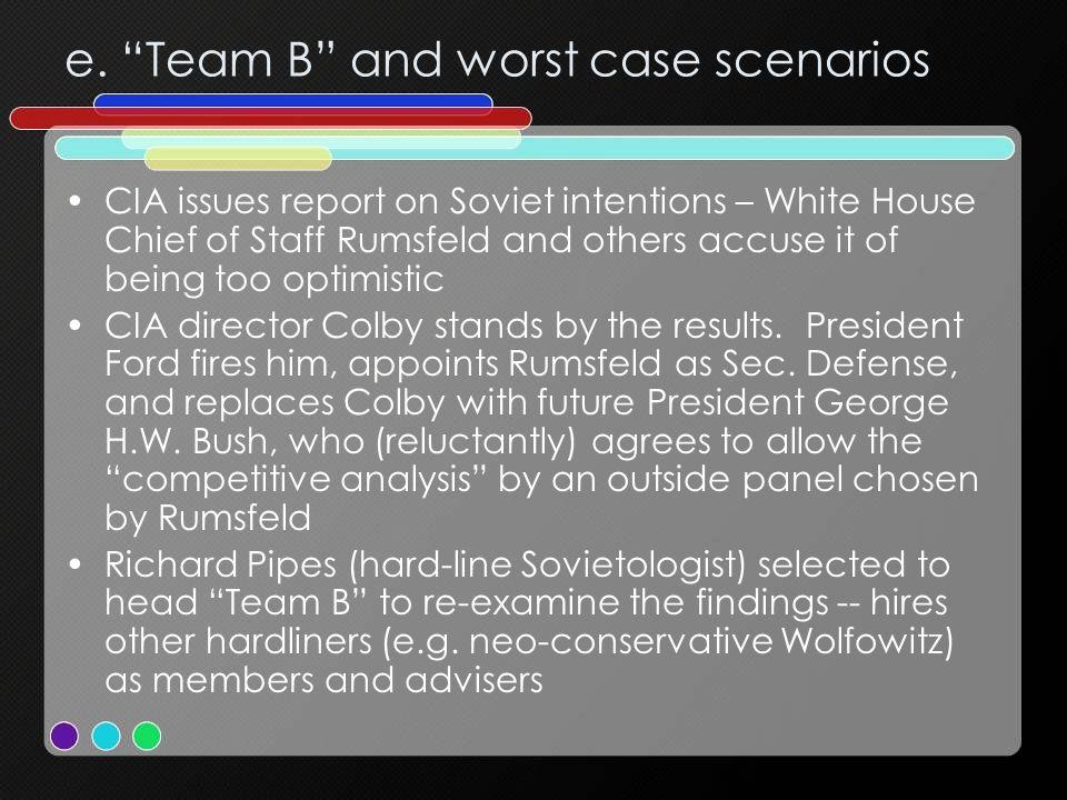 e. Team B and worst case scenarios