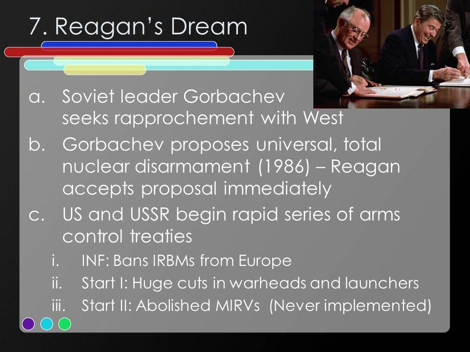 7. Reagan's Dream Soviet leader Gorbachev seeks rapprochement with West.