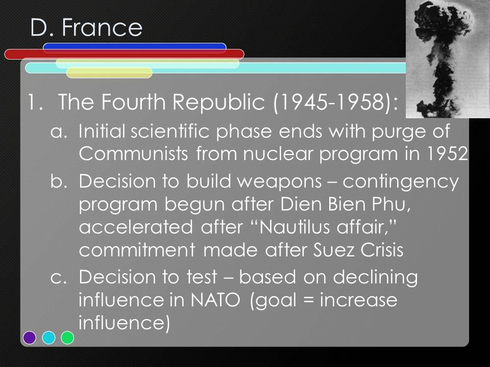 D. France The Fourth Republic (1945-1958):