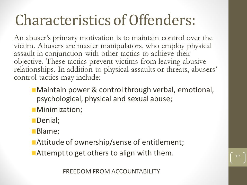 Characteristics of Offenders: