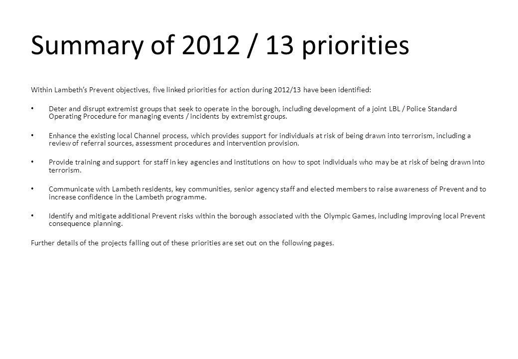 Summary of 2012 / 13 priorities