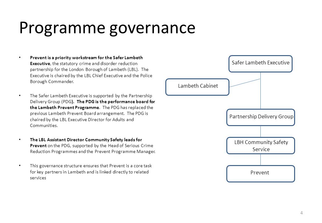 Programme governance Safer Lambeth Executive Lambeth Cabinet