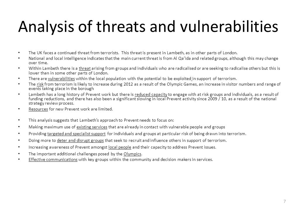 Analysis of threats and vulnerabilities