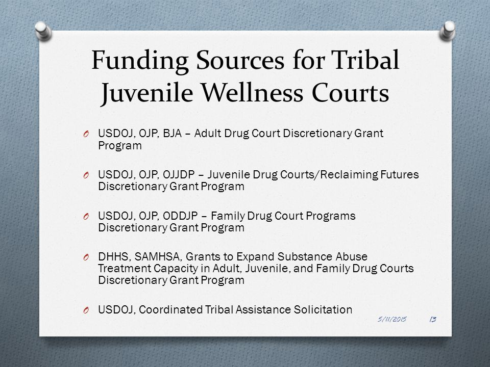 Funding Sources for Tribal Juvenile Wellness Courts