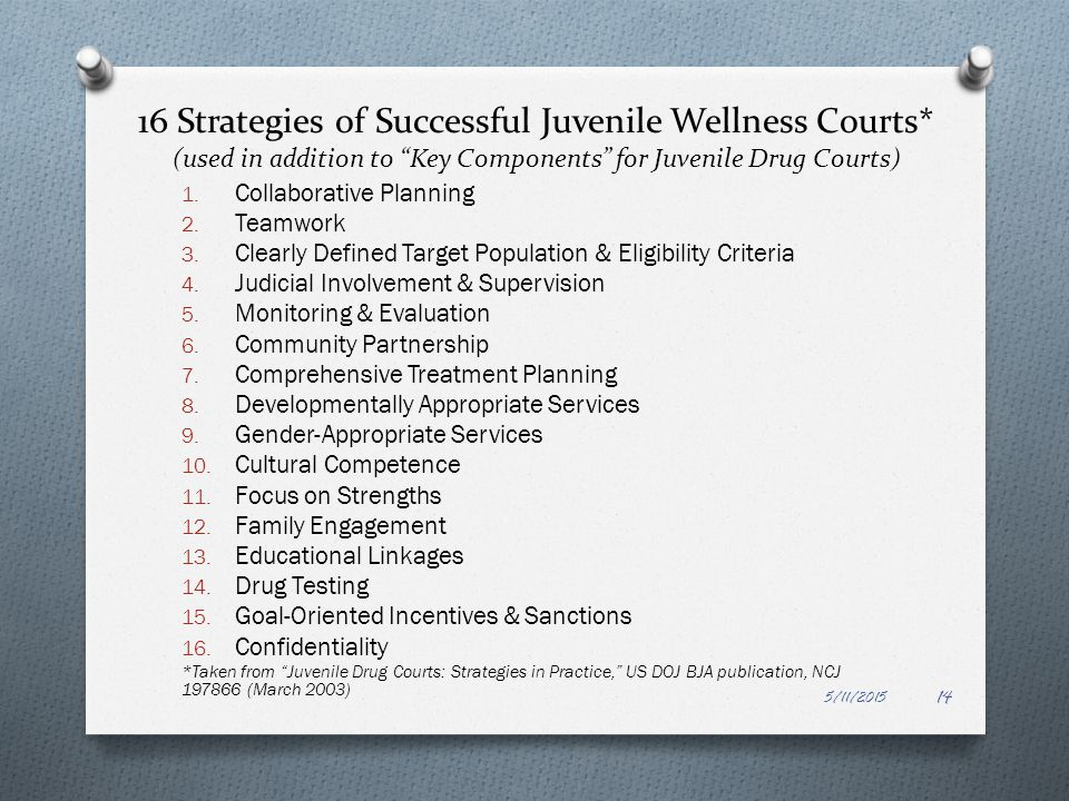 16 Strategies of Successful Juvenile Wellness Courts