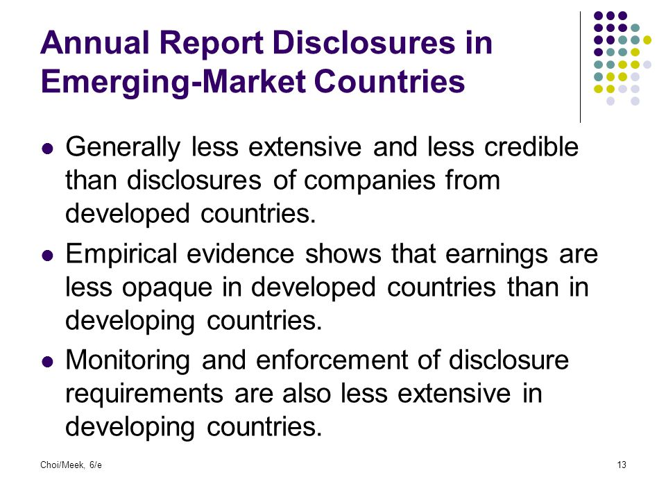 Annual Report Disclosures in Emerging-Market Countries