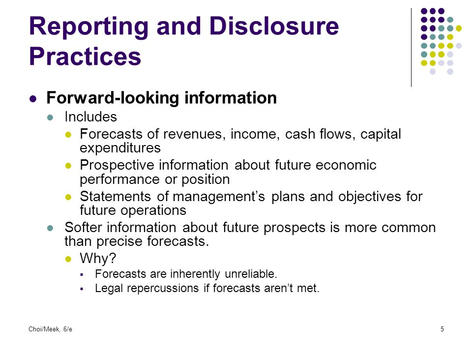 Reporting and Disclosure Practices