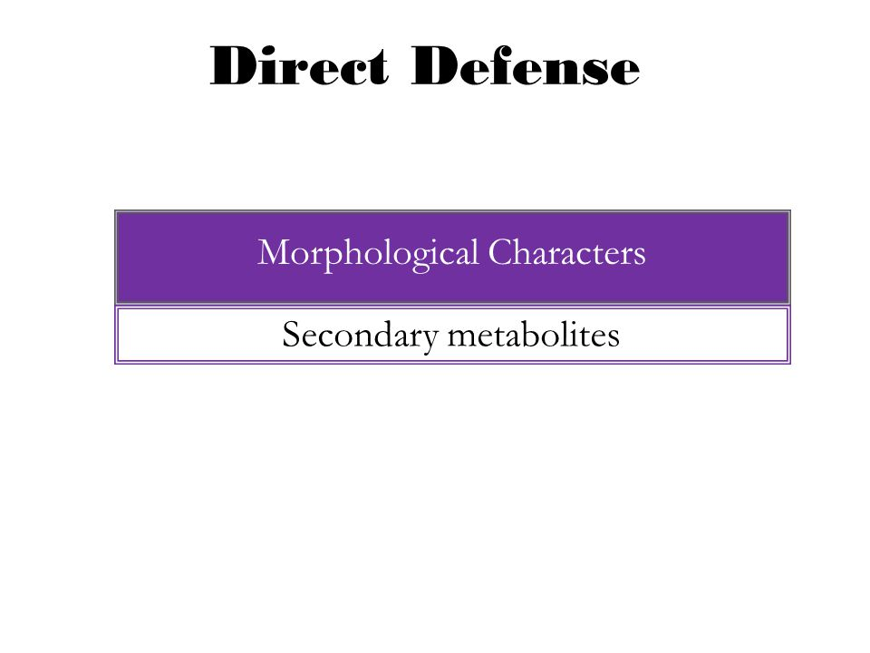 Direct Defense Morphological Characters Secondary metabolites