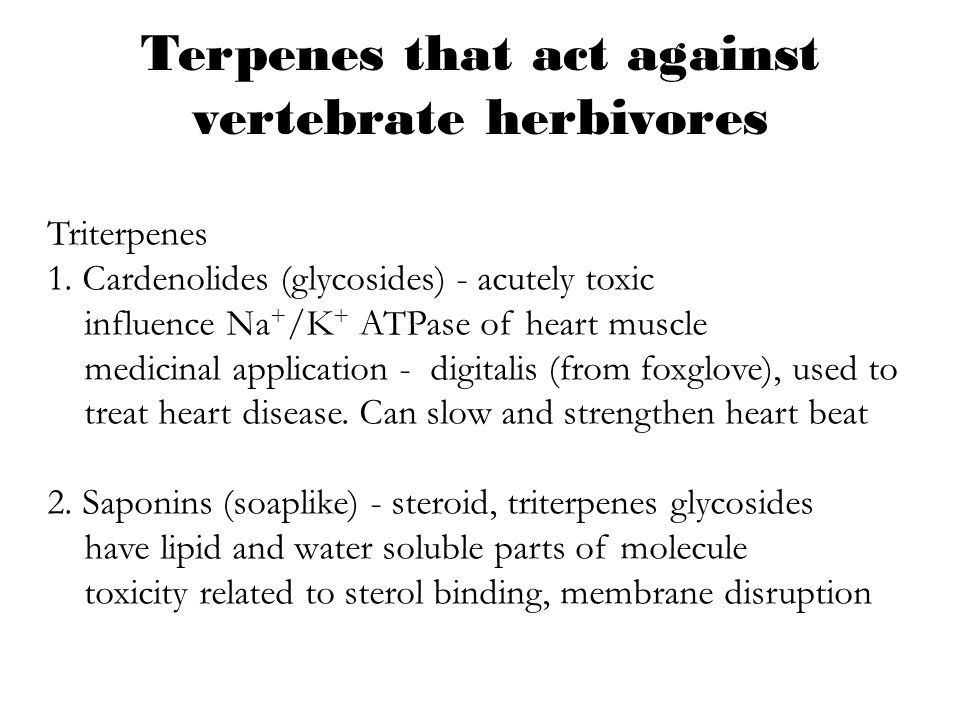 Terpenes that act against vertebrate herbivores