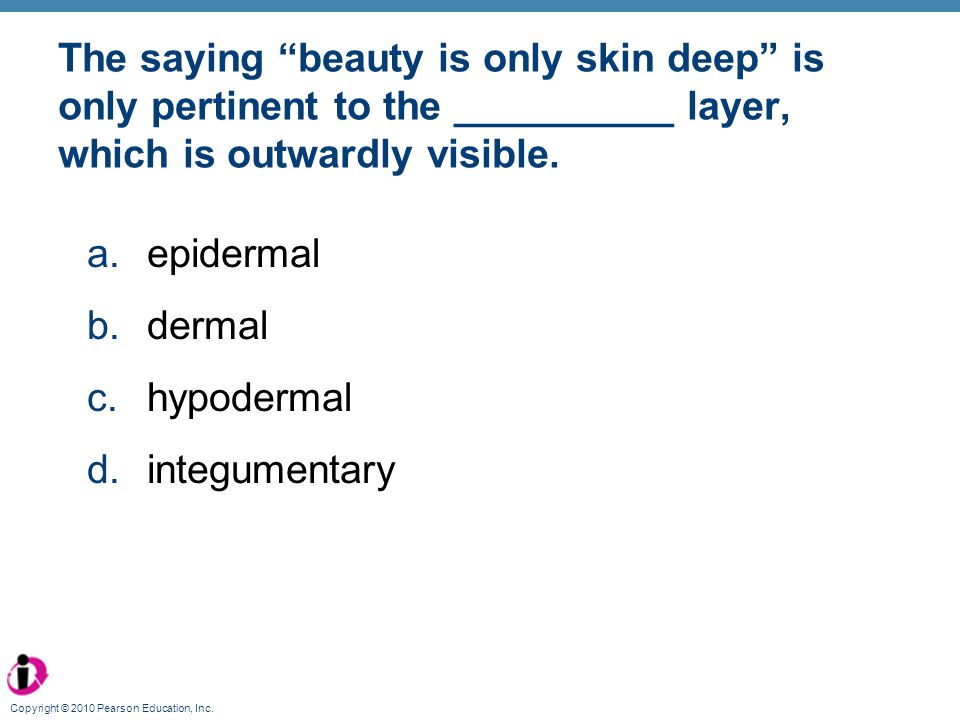 The saying beauty is only skin deep is only pertinent to the __________ layer, which is outwardly visible.