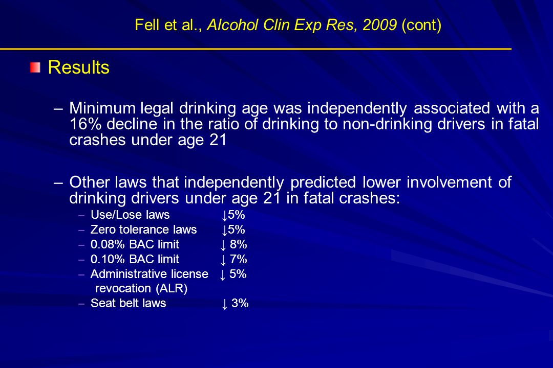 Fell et al., Alcohol Clin Exp Res, 2009 (cont)