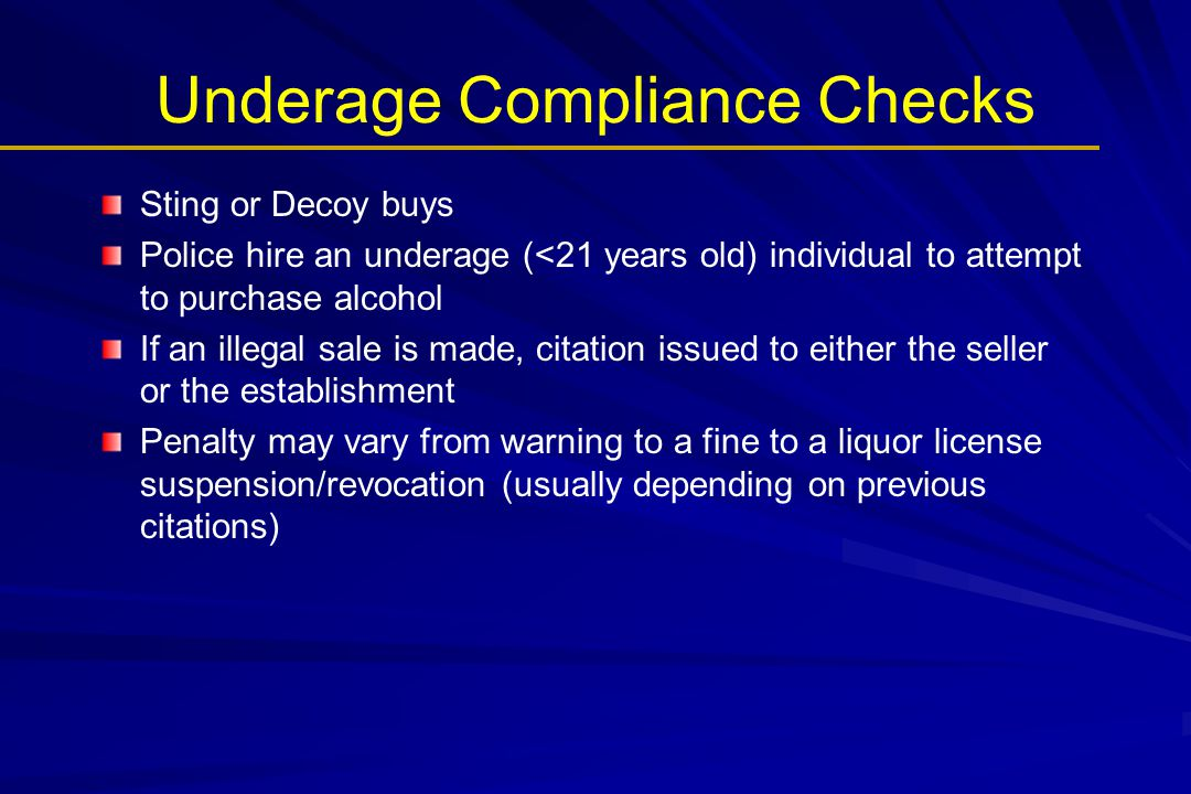 Underage Compliance Checks