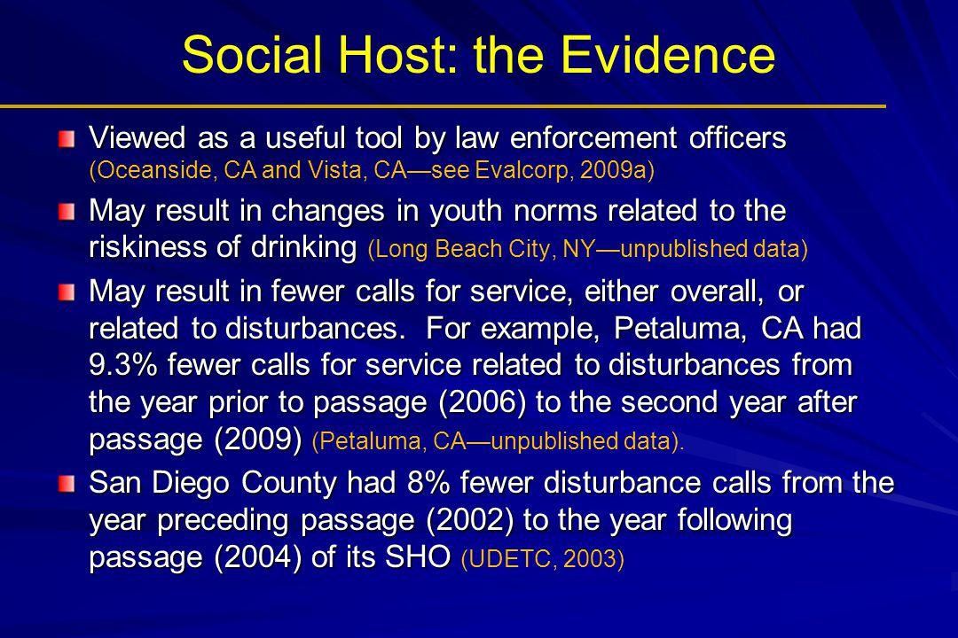 Social Host: the Evidence