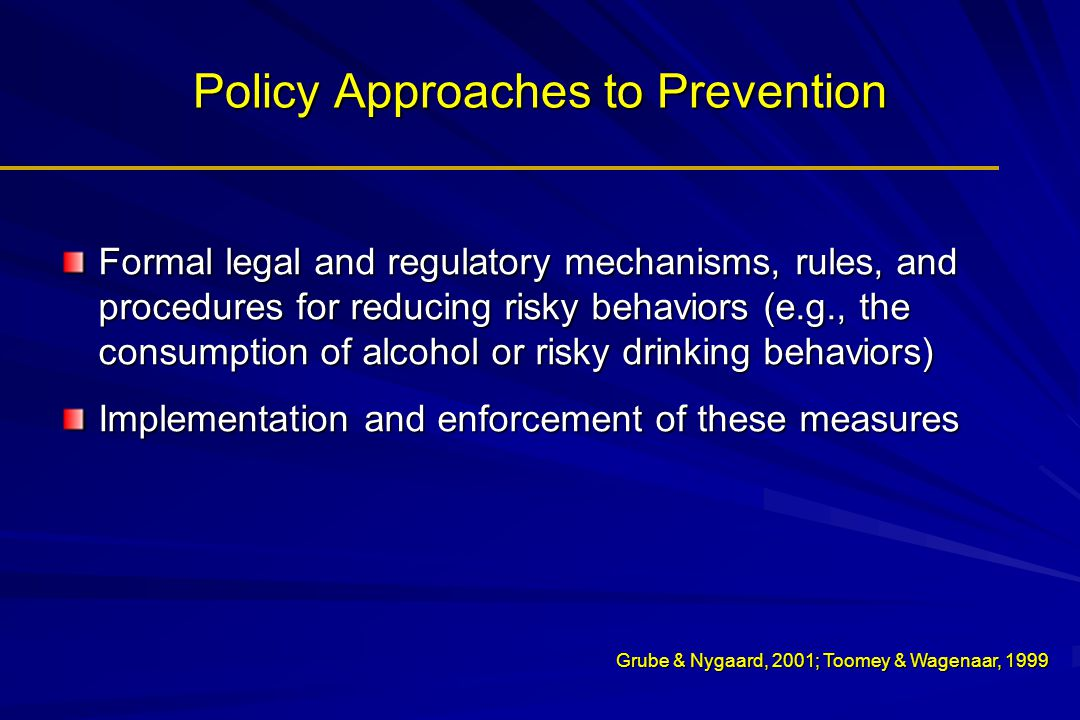 Policy Approaches to Prevention