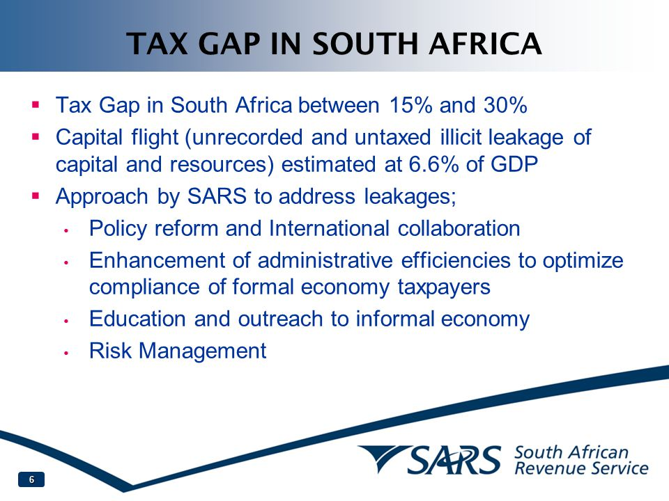 TAX GAP IN SOUTH AFRICA Tax Gap in South Africa between 15% and 30%