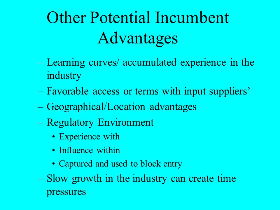 Other Potential Incumbent Advantages