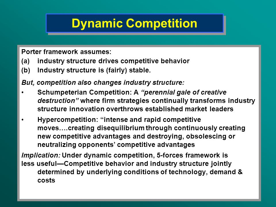 Dynamic Competition Porter framework assumes:
