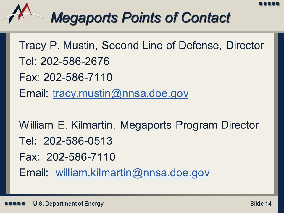 Megaports Points of Contact