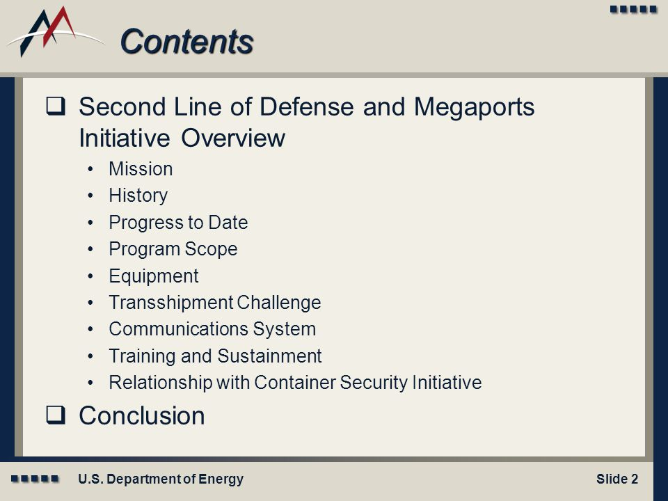 Contents Second Line of Defense and Megaports Initiative Overview