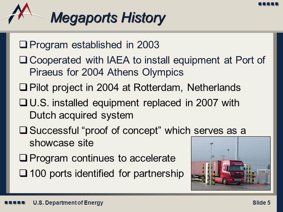 Megaports History Program established in 2003