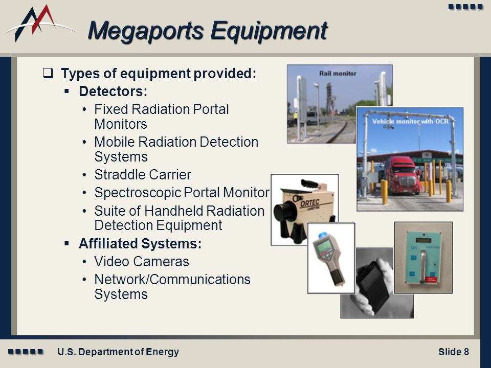 Megaports Equipment Types of equipment provided: Detectors: