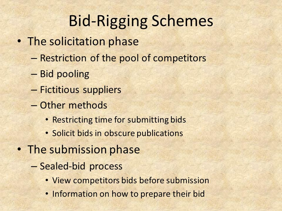 Bid-Rigging Schemes The solicitation phase The submission phase