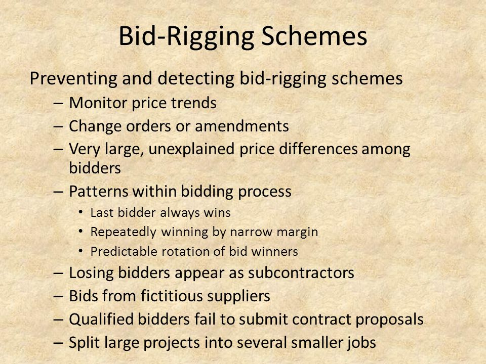 Bid-Rigging Schemes Preventing and detecting bid-rigging schemes